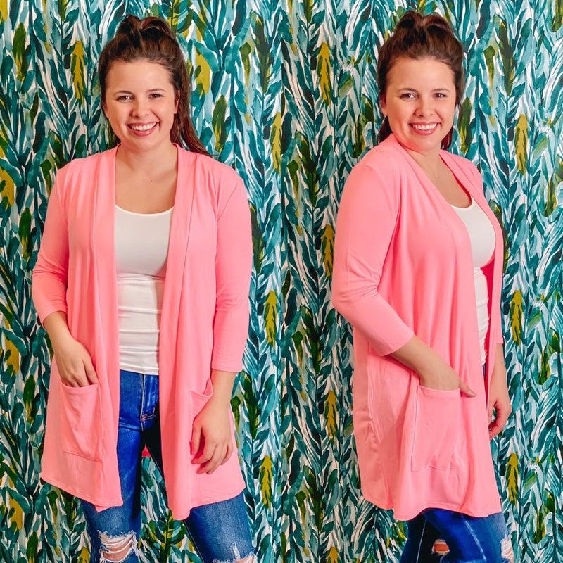 Reg/Plus Bright Pink Slouchy Cardigan