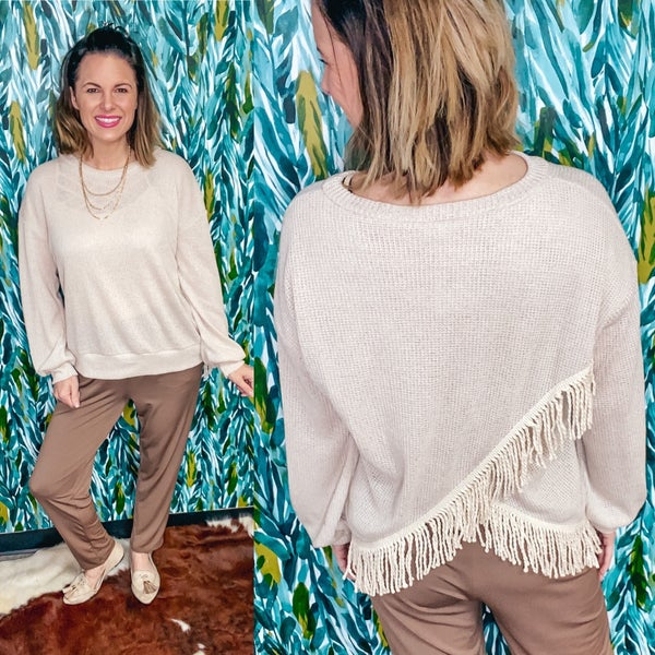 Together Oatmeal Waffle Top with Fringe Back *Final Sale*