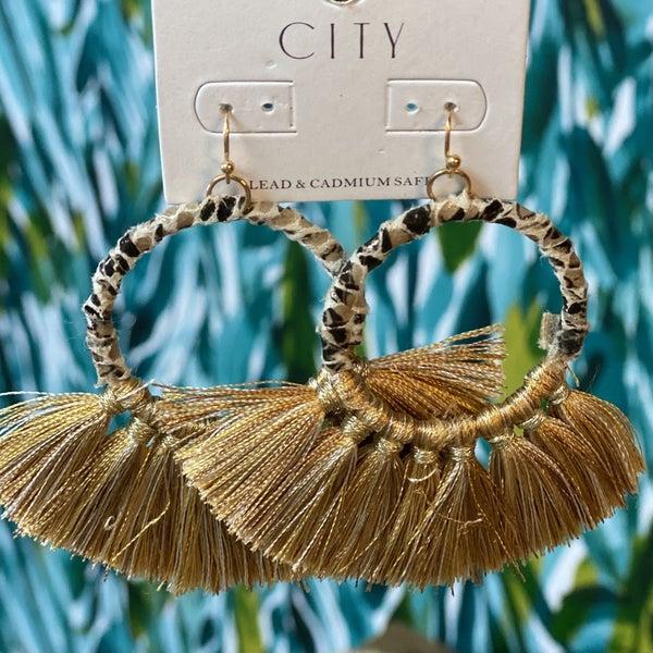 Wrapped Hoop Gold Tassel Earrings