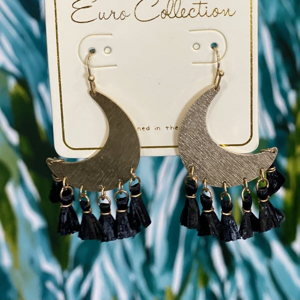 Moon Tassel Earrings