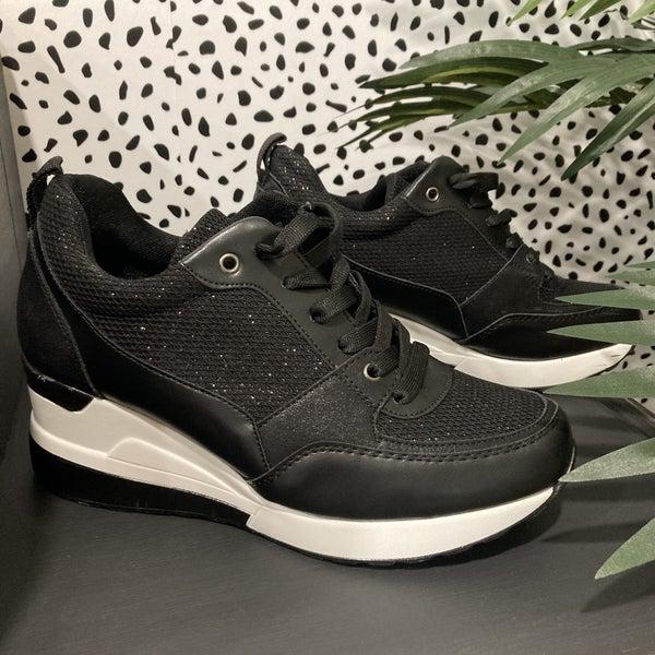 Glister Black Wedge Sneakers