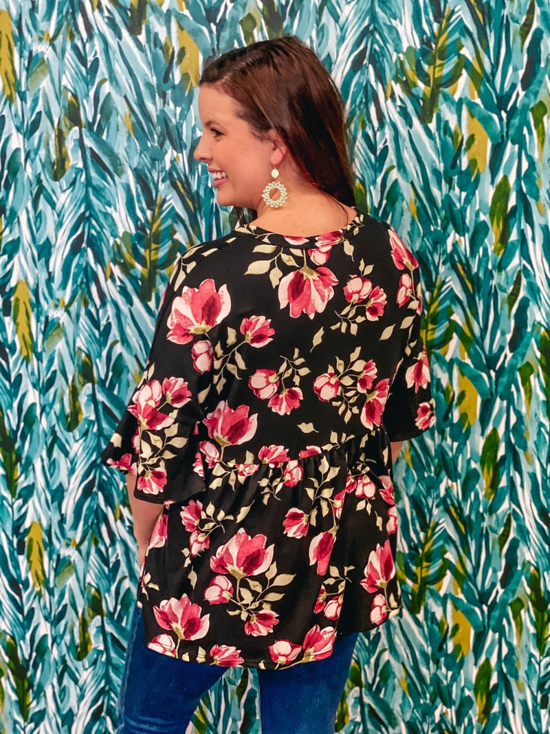 Reg/Plus LJ Black/Pink Floral Empire Waist Top *Final Sale*