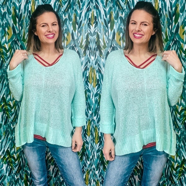 One Size Adora Mint Loose Fit Lightweight Sweater *Final Sale*