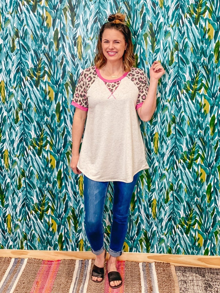 Lilypad Oatmeal Top with Pink Leopard Trim *Final Sale*
