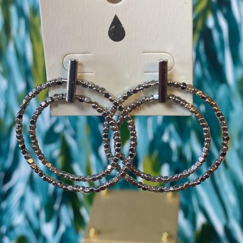 Silver Double Hoop Bar Earrings *Final Sale*