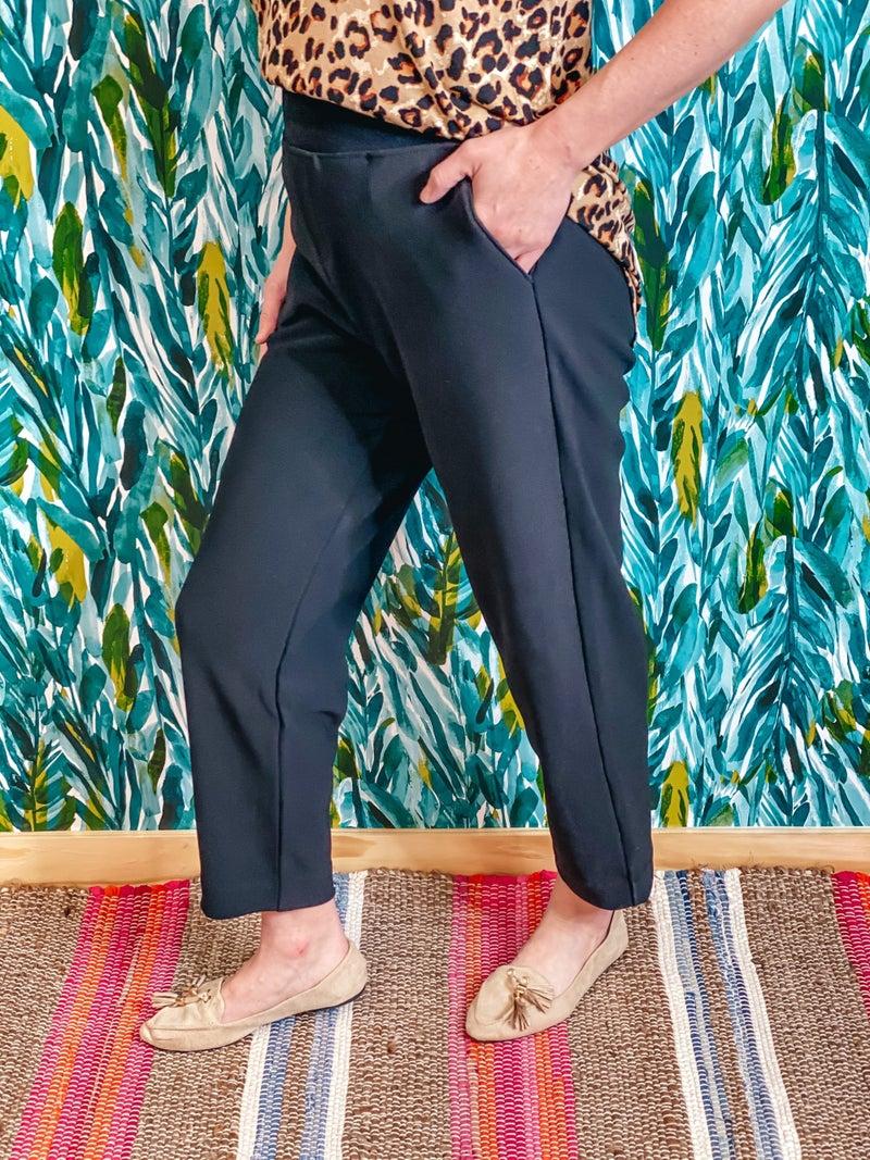 Zenana Black Slip-On Dress Pants with Pockets