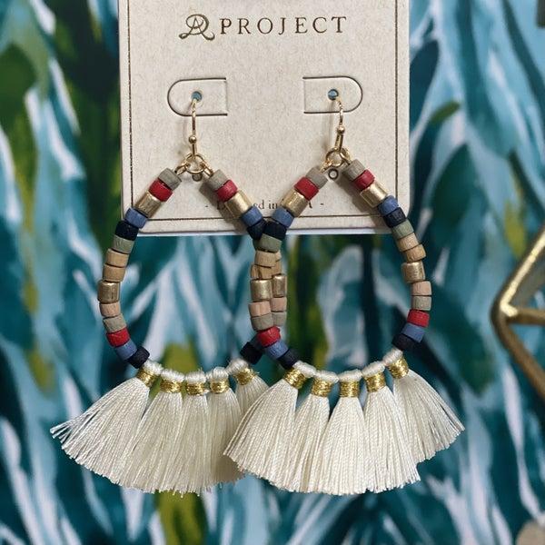 Wooden Stacked Teardrop Tassel Earrings