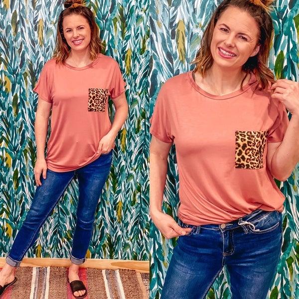 Bom Bom Brick Top with Leopard Pocket *Final Sale*