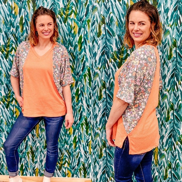143 Story Coral V-Neck with Printed Sleeves *Final Sale*