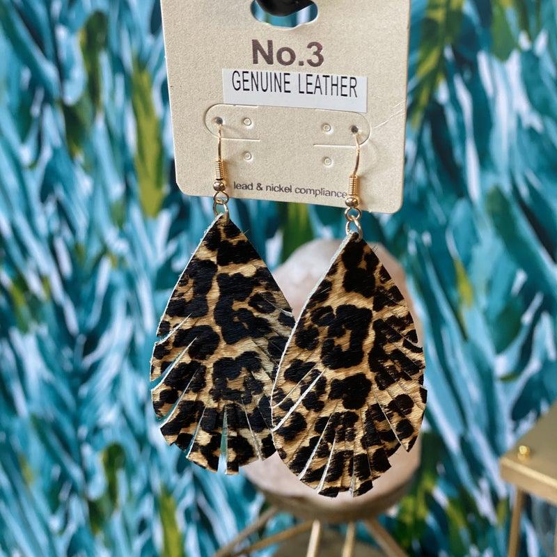Leopard Feather Earrings *Final Sale*