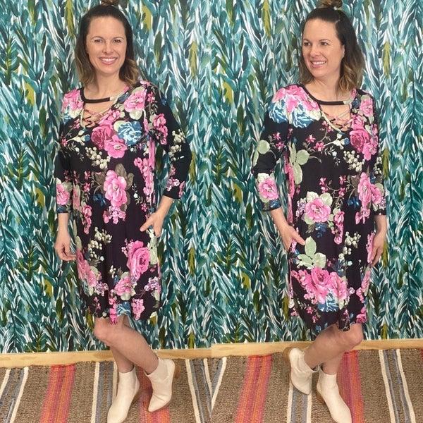 Reg/Plus Honey Me Black/Pink Floral 3/4 Sleeve Dress *Final Sale*