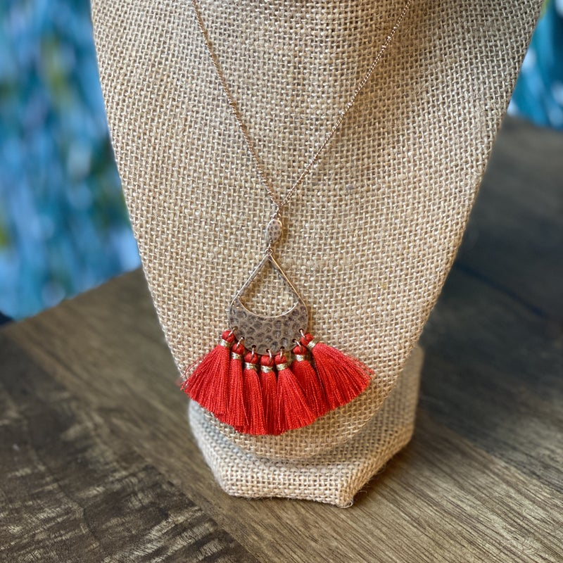 Red Fan Necklace *Final Sale*