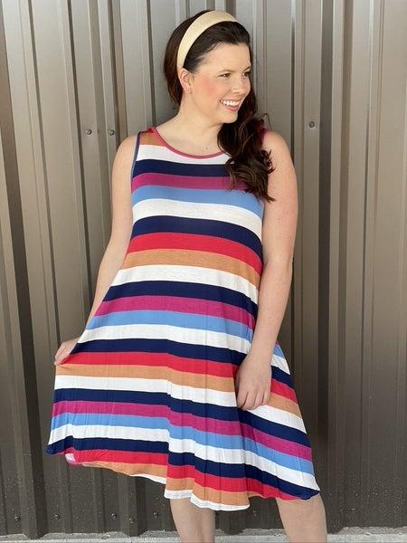 Bom Bom Striped Tank Dress