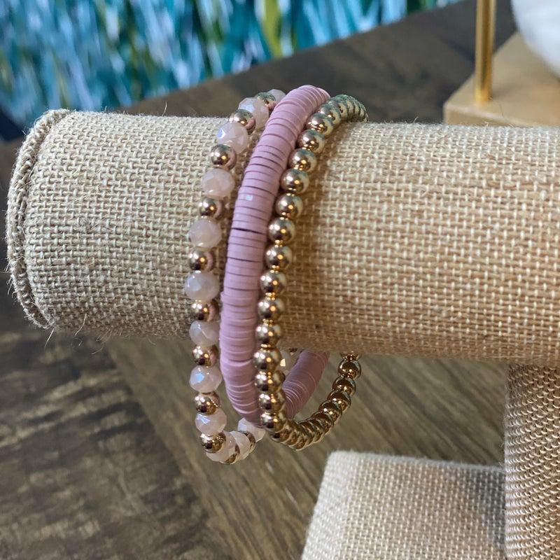 Lavender Stacked and Gold Beaded Bracelet Set *Final Sale*