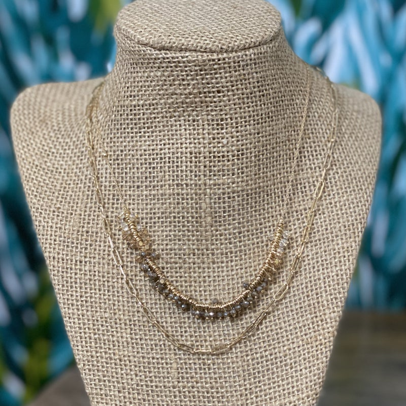 Double Layered Mocha Crystal Necklace