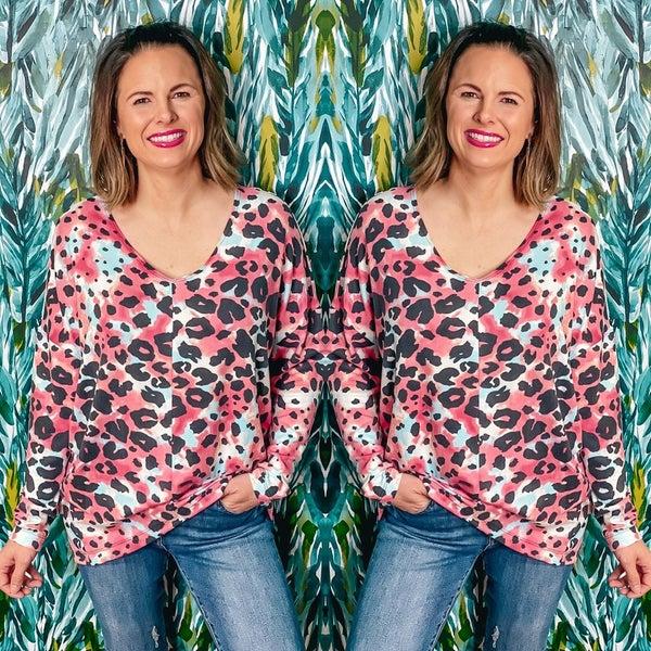 Reg/Plus Honey Me Ruby Leopard V-Neck Top *Final Sale*