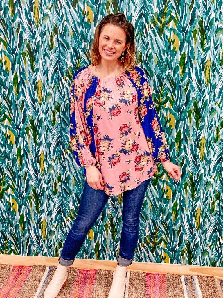RJ Blush/Navy Floral Top *Final Sale*