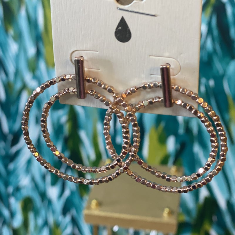 Rose Gold Double Hoop Bar Earrings