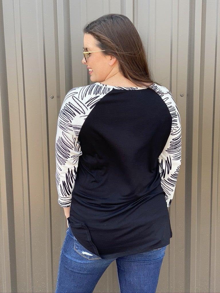 Honey Me Black Raglan Top with Printed Sleeves and Trim *Final Sale*