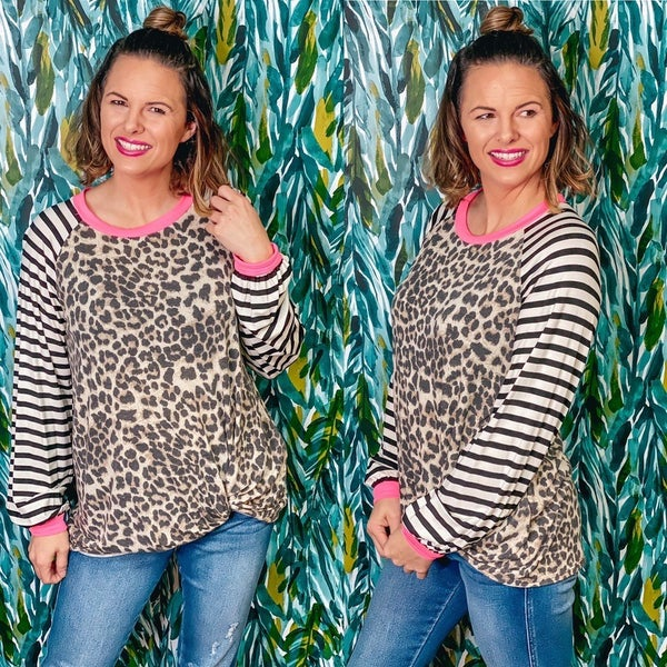 VB Leopard Twisted Front Top with Striped Sleeves