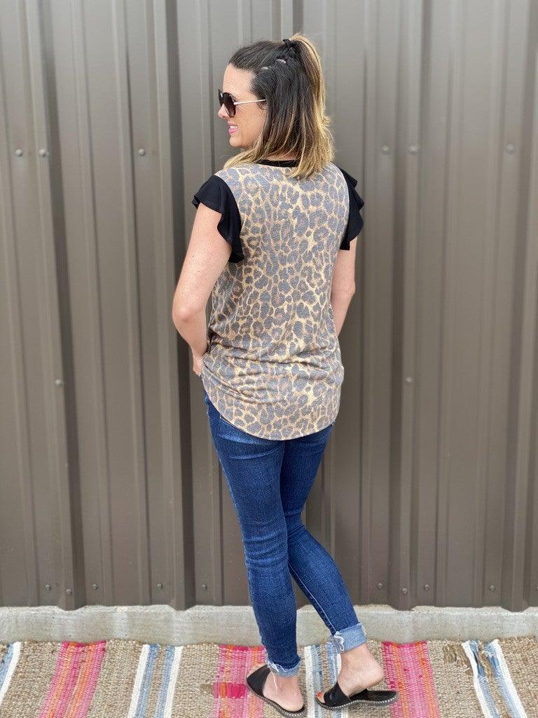 Bom Bom Leopard Top with Black Ruffle Cap Sleeve