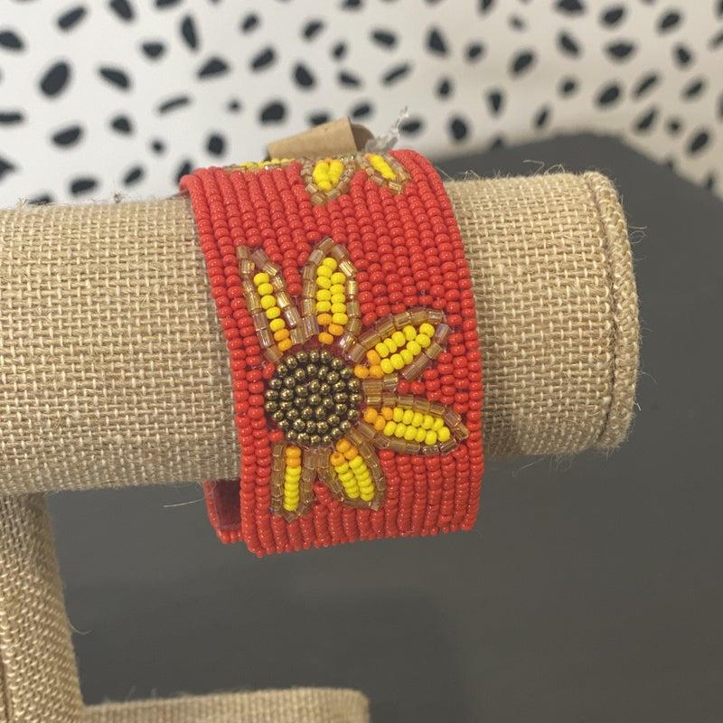 Adjustable Seed Bead Bracelet Sunflower & Red