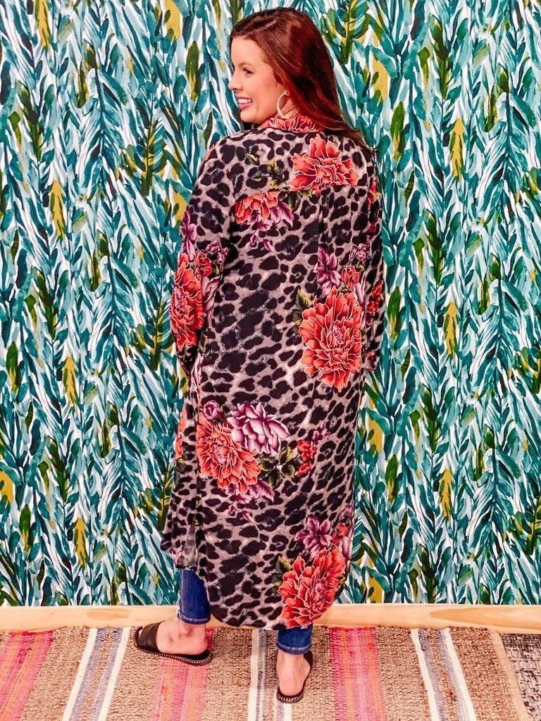 Reg/Plus N&F Gray Leopard/Floral Shirt Duster *Final Sale*