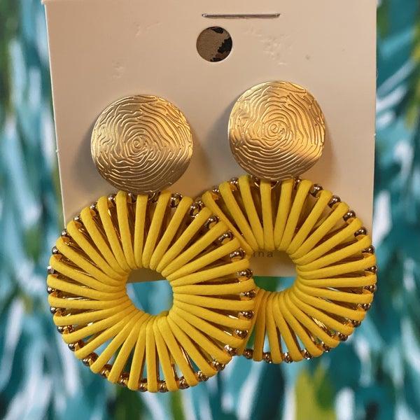 Boho Fan Post Back Earring Yellow