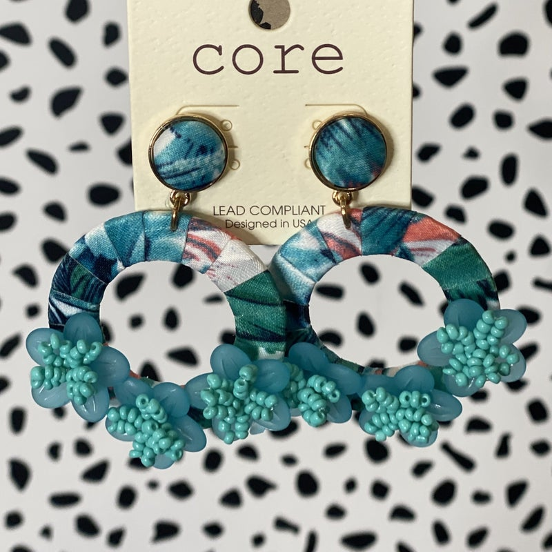 Floral Fabric Earrings Turquoise