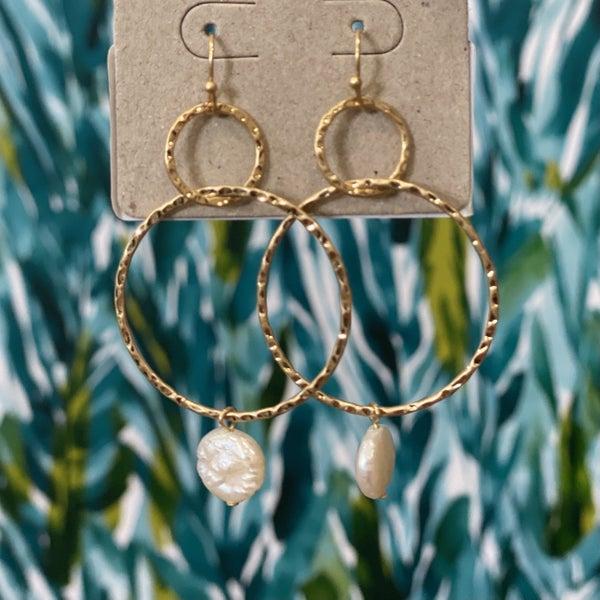 Hammered Ring Drop Earrings