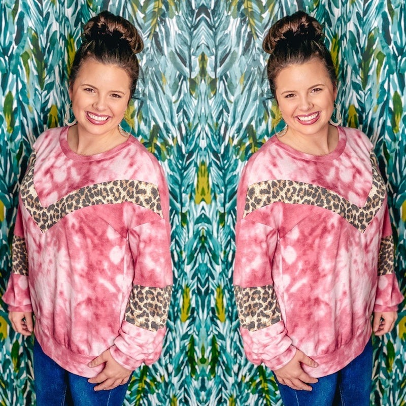 Together Rose Tie Dye Pullover with Leopard Trim *Final Sale*