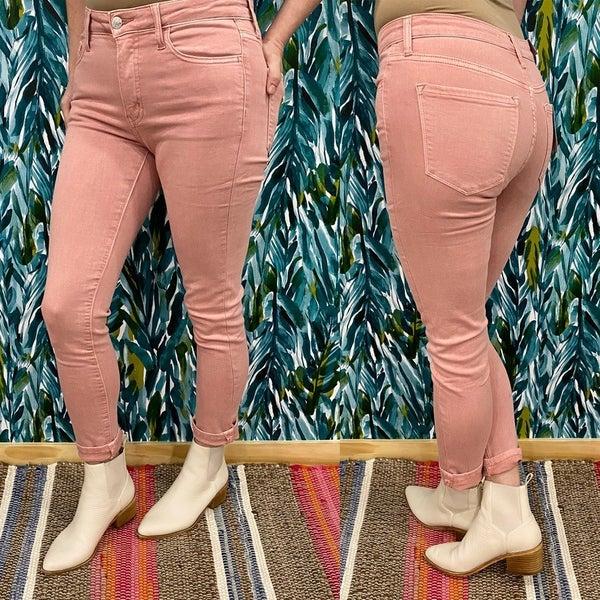 "Vervet Haylie ""Spring Pink"" High Rise Crop Jeans *Final Sale*"