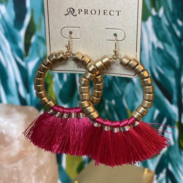 Fuchsia Gold Hoop Fan Earrings