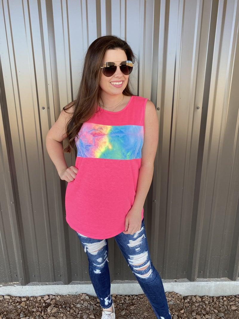 Reg/Plus Pink/Tie Dye Color Block Tank *Final Sale*