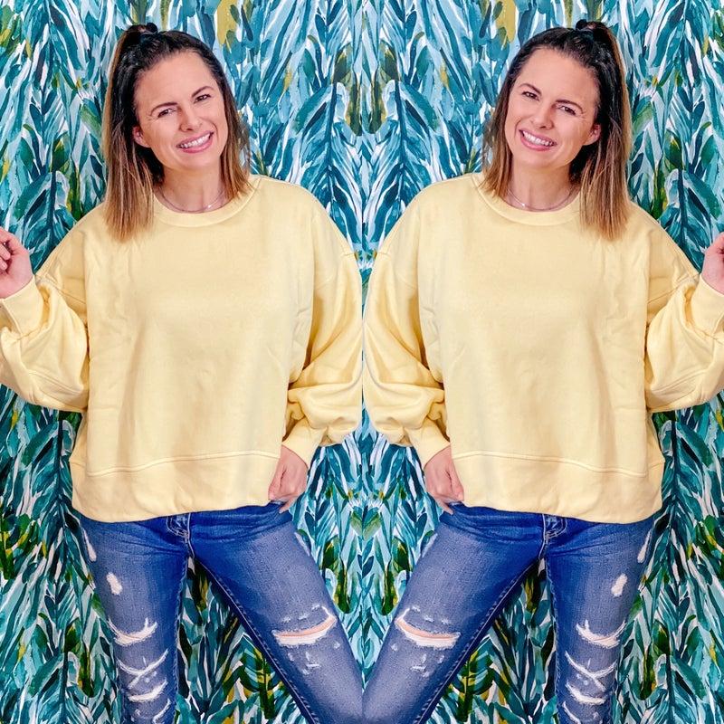 Zenana Banana Balloon Sleeve Sweatshirt