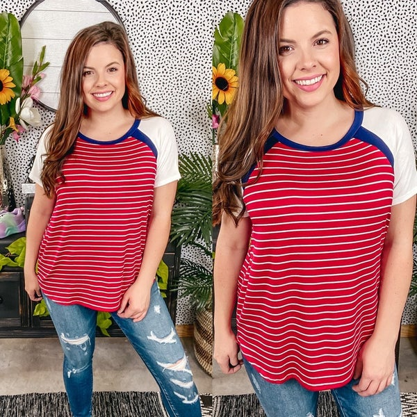 Reg/Plus SIL Red/White/Blue Striped Raglan Sleeve Top