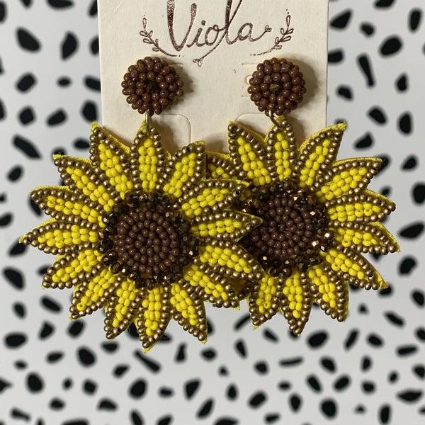 Bright Sunflower Drop Earrings