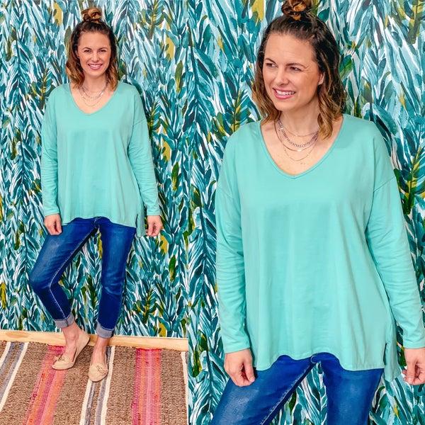 Fantastic Fawn Mint Slub Knit V-Neck Long Sleeve Top *Final Sale*