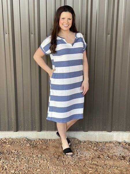 RJ Navy-Ivory Striped T-Shirt Dress with Pockets