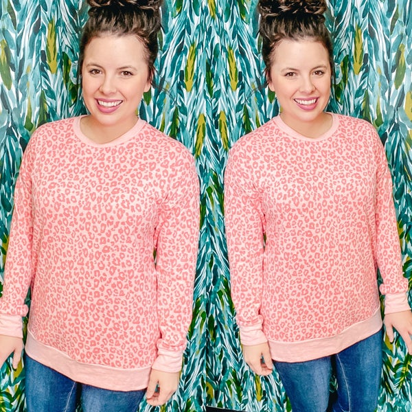 Deal of the Day--RJ Coral Leopard Pullover *Final Sale*