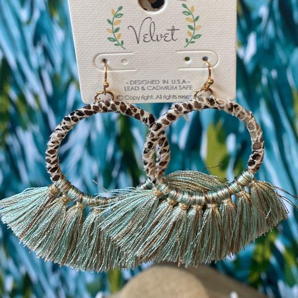 Wrapped Hoop Turquoise Tassel Earring