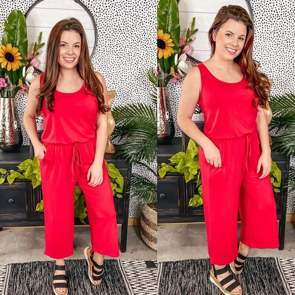 Zenana Red Sleeveless Jumpsuit with Pockets