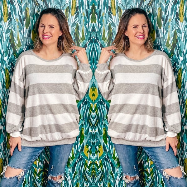 Reg/Plus LJ Gray/Ivory Striped Brushed Pullover *Final Sale*