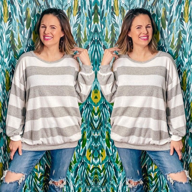Reg/Plus LJ Gray/Ivory Striped Brushed Pullover *Final Sale*