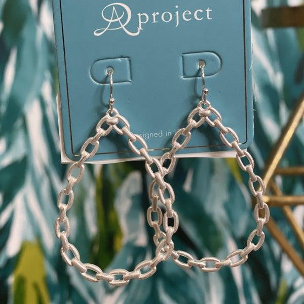 Teardrop Faux Chain Link Earrings Silver