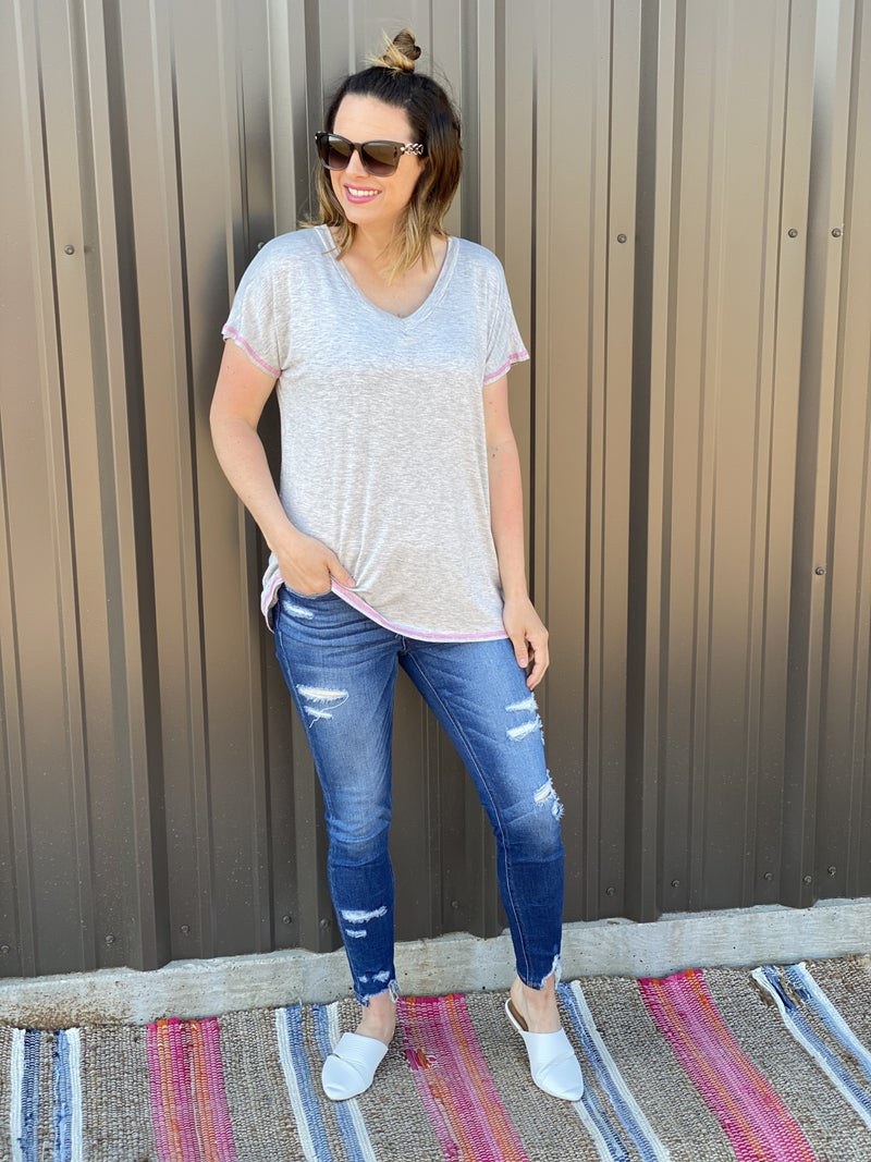Reg/Plus SIL Heather Grey V-Neck Top with Pink Stitching