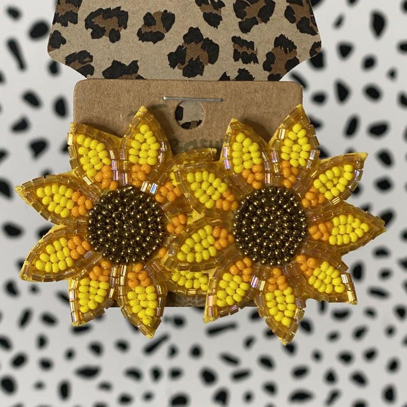 Large Beaded Sunflower Earring