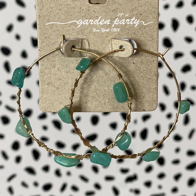 Marble Stone Entwined Hoops - Turquoise