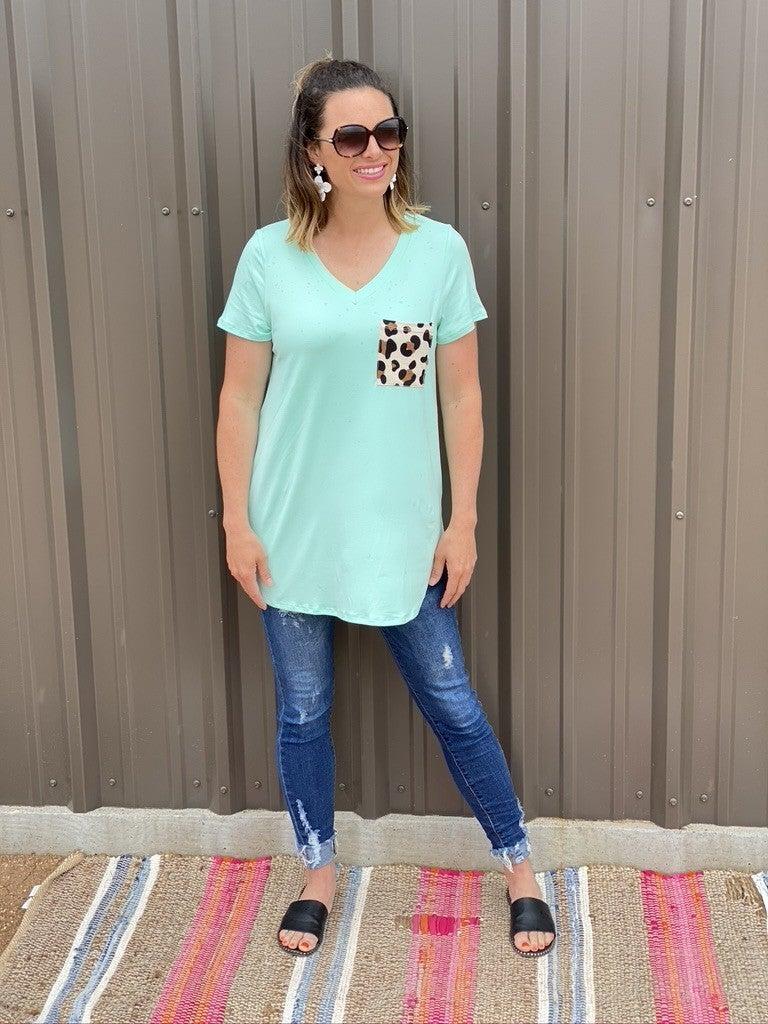Reg/Plus Honey Me Mint V-Neck Top with Leopard Pocket