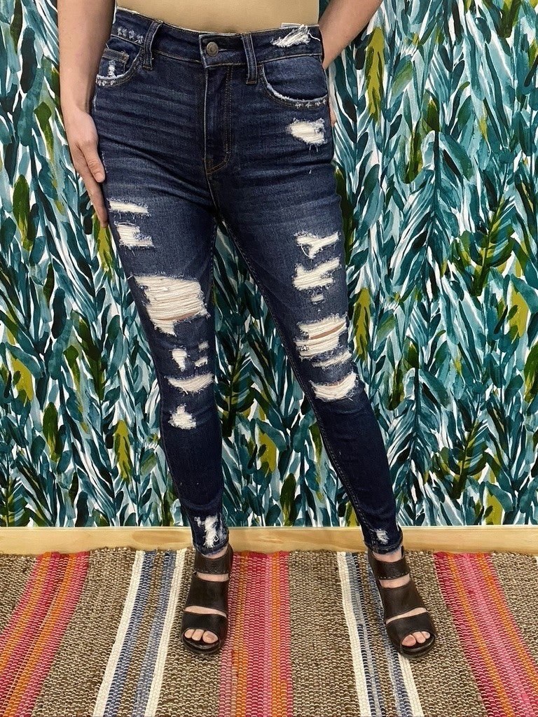 """Vervet Haylie """"Cleo"""" High Rise Distressed Ankle Jeans"""